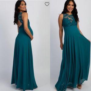 Pinkblush Green Crochet Lace Sweetheart Maxi Dress